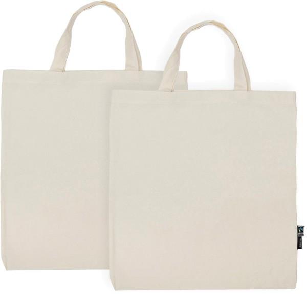 Doppelpack - Organic Shopping Bag kurze Henkel Fairtrade - natur