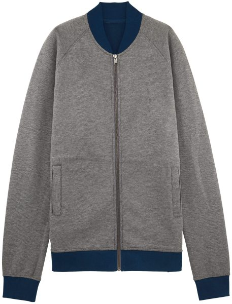 Bomberjacke aus Bio-Baumwolle - mid heather grey/bound navy