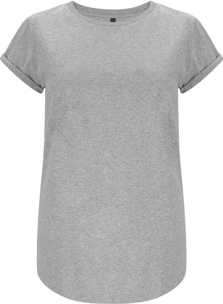 Organic Rolled Sleeve T-Shirt - grau-meliert