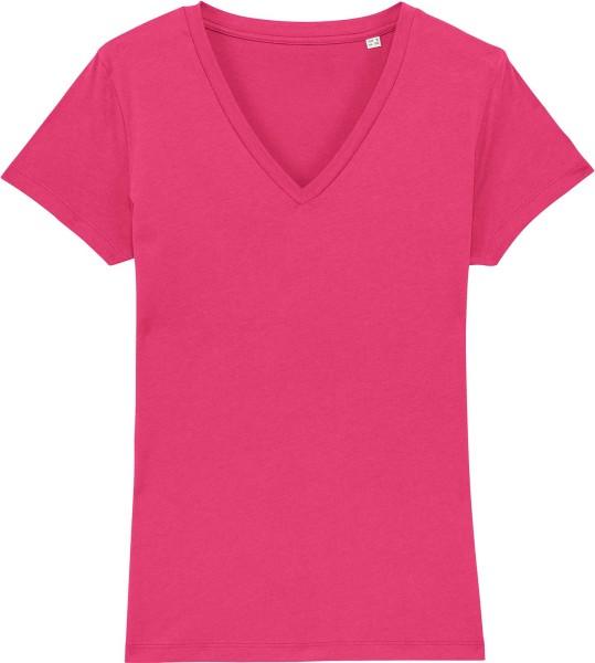 T-Shirt mit V-Ausschnitt aus Bio-Baumwolle - raspberry
