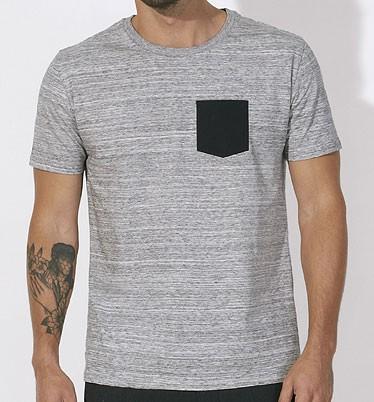 Leads Pocket - Kurzarmshirt aus Biobaumwolle - slub h. gr./black - Bild 1