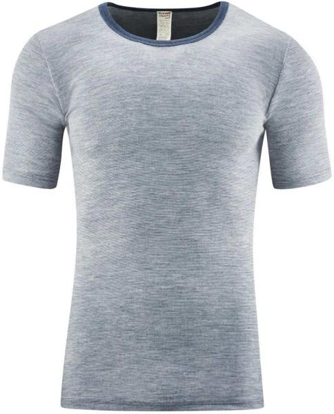 Kurzarm-Shirt - Wolle/Seide - blue melange
