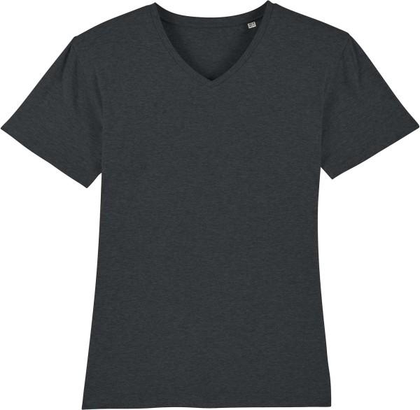 T-Shirt mit V-Ausschnitt aus Bio-Baumwolle - dark heather grey