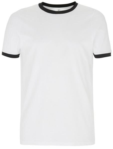 Ringer T-Shirt bio fair Herren weiss schwarz EP
