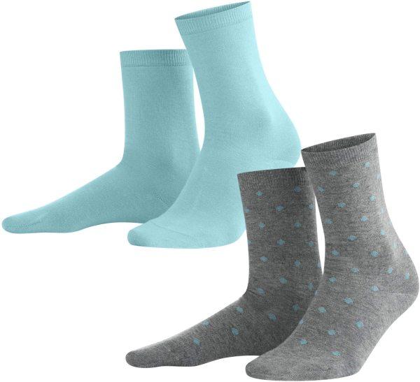 Damen Socken aus Bio-Baumwolle - Doppelpack - cameo blue dots