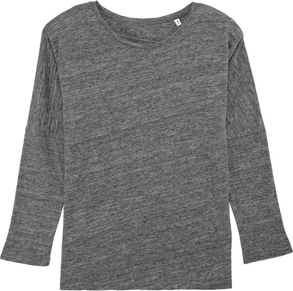 Oberteil aus Biobaumwolle mit 3/4-Ärmeln - slub heather steel grey