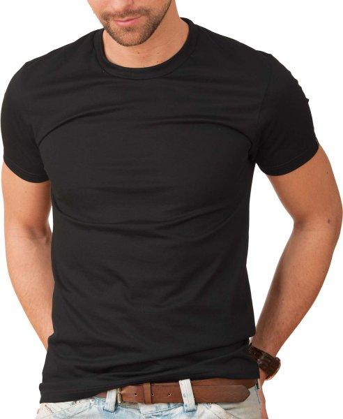 Slim-Fit T-Shirt aus Baumwolle - schwarz - Bild 1