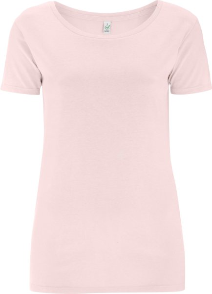 Open Neck T-Shirt aus Biobaumwolle - light pink