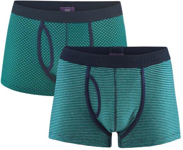 Boxershorts aus Bio-Baumwolle - Doppelpack - navy/evergreen