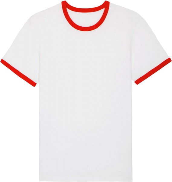 Retro T-Shirt aus Bio-Baumwolle - white/bright red