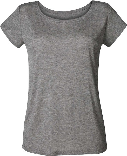 Glows Modal - Boatneck T-Shirt aus Modal - mid-heather grey