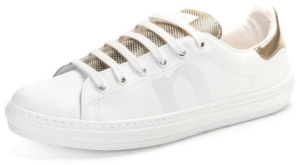 Sneaker weiss/gold mit Mesh-Lasche