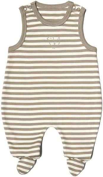 Baby Strampler aus Bio-Baumwolle - natural/taupe striped - Bild 1