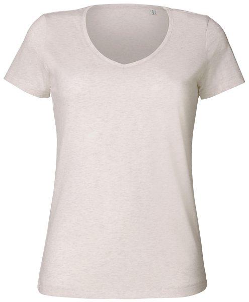 Shirt V-Ausschnitt hellgrau meliert Bio-Baumwolle Chooses