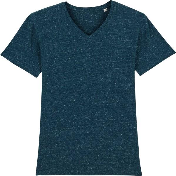 T-Shirt mit V-Ausschnitt aus Bio-Baumwolle - dark heather denim