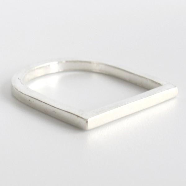 Silber Ring D-Form kantig recycelt Fairtrade Schmuck