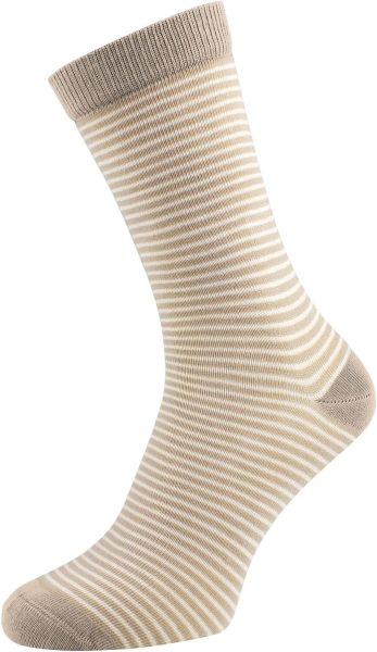 Geringelte Socken aus Biobaumwolle braun natur