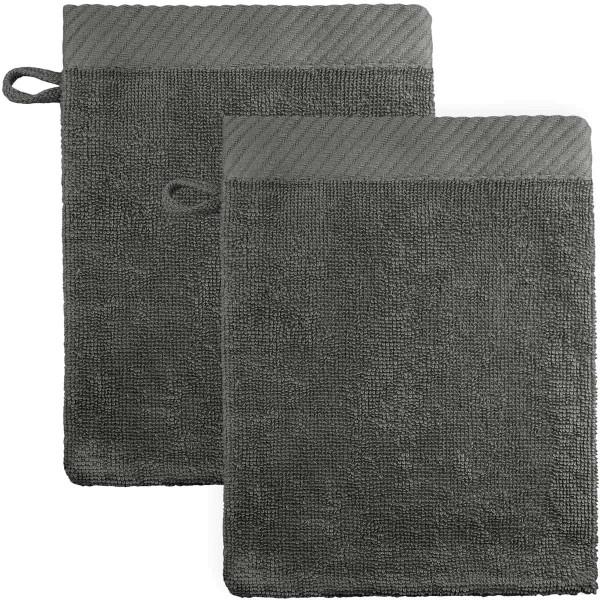 Waschhandschuhe aus Bio-Baumwolle 21x15cm - dunkelgrau - 2er-Pack