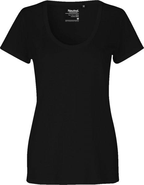 Deep Round Neck T-Shirt aus Fairtrade Bio-Baumwolle - schwarz