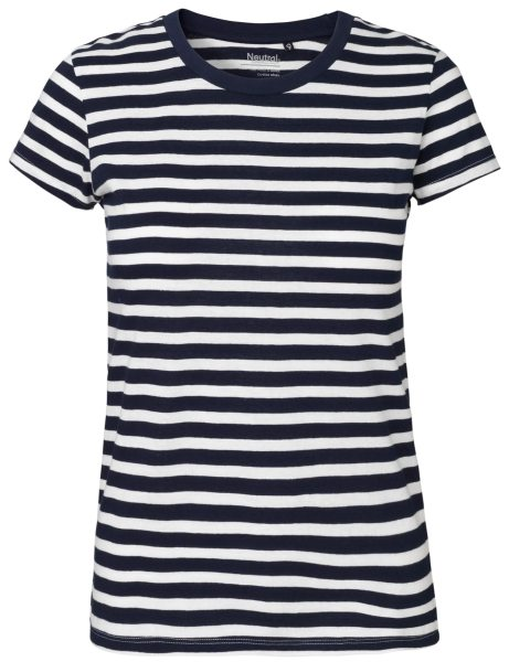 T-Shirt Damen gestreift Bio-Baumwolle weiss navy 81001