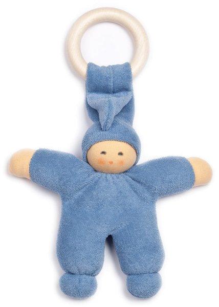 Pimpel mit Ahornring - Püppchen aus Bio-Baumwolle - blau - Bild 1