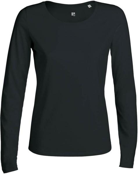 Langarmshirt Bio schwarz für Frauen