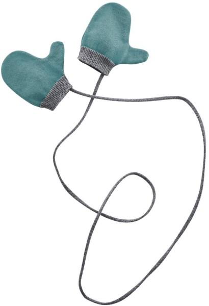Baby Strick-Fäustlinge aus Bio-Baumwolle - teal