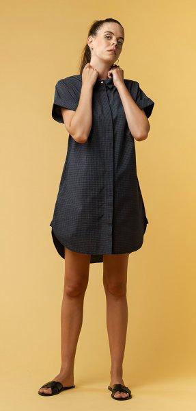 Fairtrade Blusenkleid Amoli aus Bio-Baumwolle - navy grid