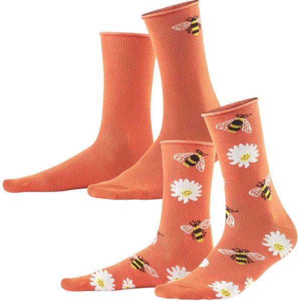 Damen Socken aus Bio-Baumwolle - 2er-Pack - coral