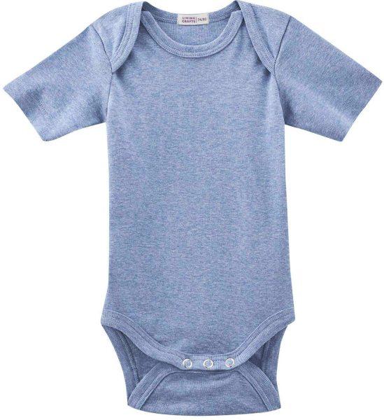 Baby Kurzarm-Body aus Bio-Baumwolle - blue melange