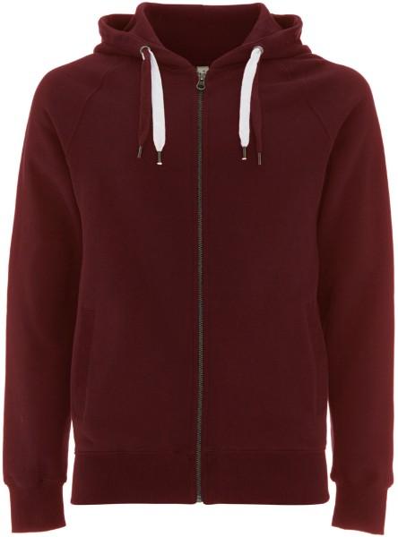 Zip-Up-Hoodie claret red Biobaumwolle