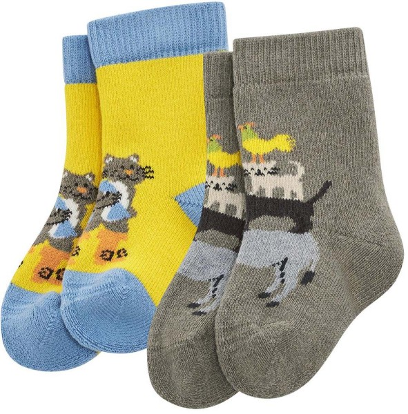 Baby Socken aus Bio-Baumwolle - 2er-Pack – sunflower/nut