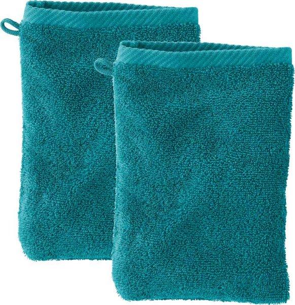Doppelpack Waschhandschuhe aus Bio-Baumwolle - petrol