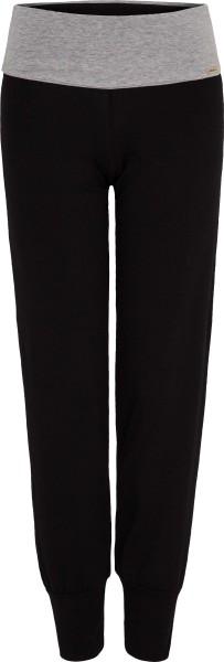 Yogahose aus Fairtrade Biobaumwolle - schwarz/grau-melange