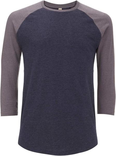 Unisex Baseball-Longsleeve aus Baumwolle und recyceltem Polyester - navy/grau
