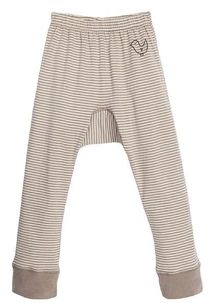 Lange Baby-Unterhose aus Bio-Baumwolle - taupe-gestreift - Bild 1