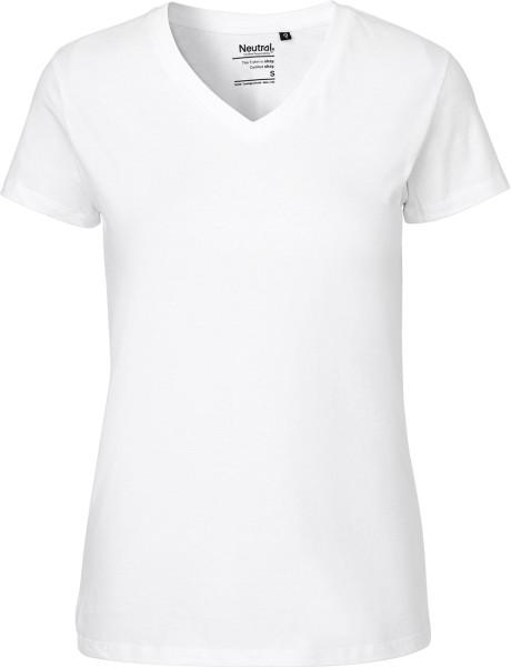 V-Neck T-Shirt Fairtrade Biobaumwolle - weiss