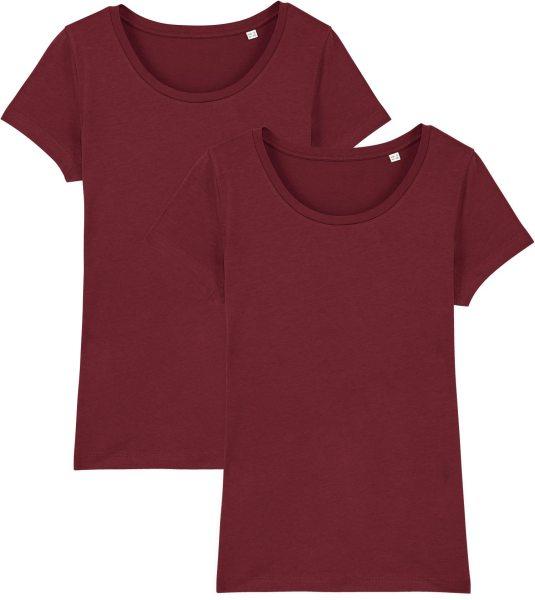 Jersey-Shirt aus Bio-Baumwolle - 2er Pack - burgundy