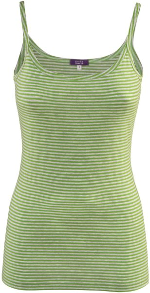 Spaghettiträger-Top aus Bio-Baumwolle - avocado striped