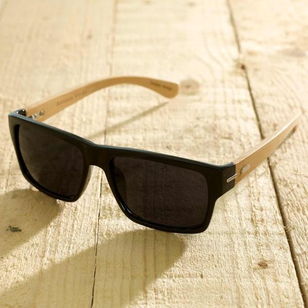Roma - Sonnenbrille aus recyl. Kunststoff & Bambus schwarz glanz - Bild 1