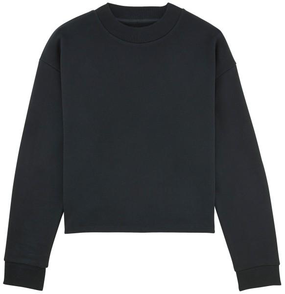 Kurzes Sweatshirt Bio-Baumwolle schwarz fair-trade