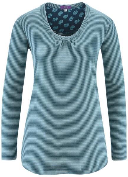 Schlaf-Shirt aus Bio-Baumwolle - petrol stripe