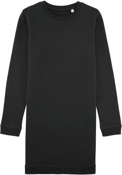 Sweatshirtkleid schwarz Bio-Baumwolle Rundhals