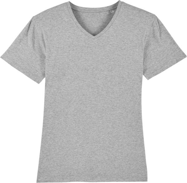 T-Shirt mit V-Ausschnitt aus Bio-Baumwolle - heather grey