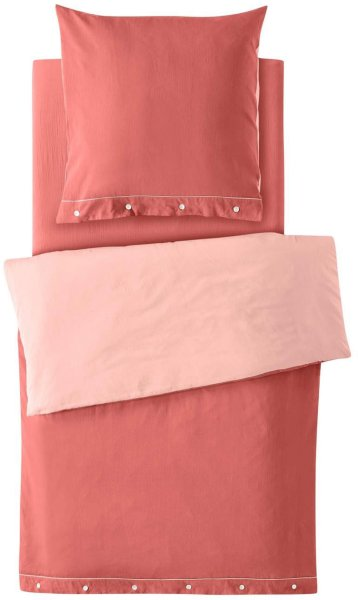 Satin-Bettwäsche-Set aus Bio-Baumwolle 155x220cm - blush