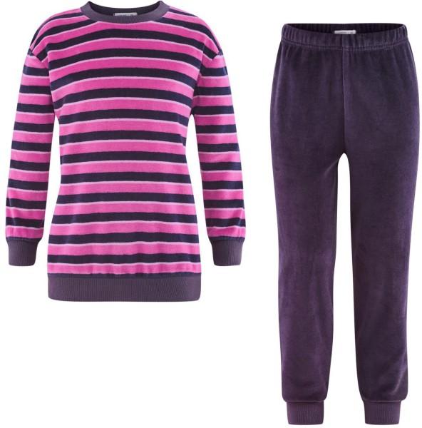 Kinder Nicki Schlafanzug aus Bio-Baumwolle - plum/pink