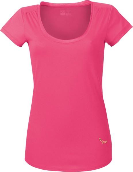 T-Shirt mit tiefem Ausschnitt aus Baumwolle - pink
