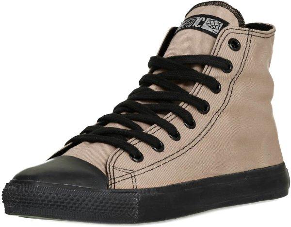 Fair produzierter, veganer Hi Cut Sneaker beige mit schwarzer Sohle