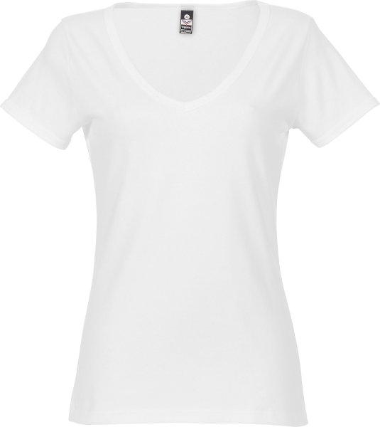 T-Shirt mit großem V-Ausschnitt - weiss