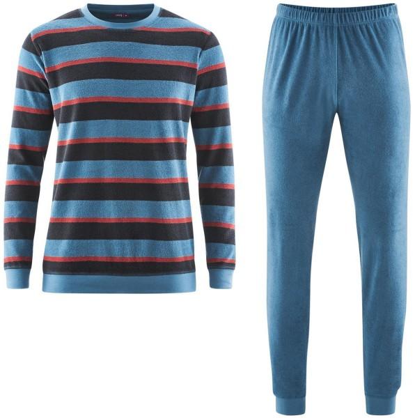 Herren Frottee Pyjama Biobaumwolle gestreift blau